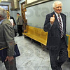 """Happy with outcome: Terre Haute attorney Bob Wright gives the """"thumbs up"""" as his client Turk Roman stops to talk with media Friday afternoon after his sentencing in Vigo County Court. Roman's offense was reduced to a class """"A"""" misdemeanor."""