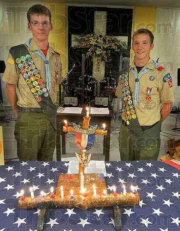 New eagles: Boy Scouts Hunter and Holden Barnes were awarded their Eagle Scout pins Friday night. The Eagle Court of Honor was held at Calvary Temple Church.