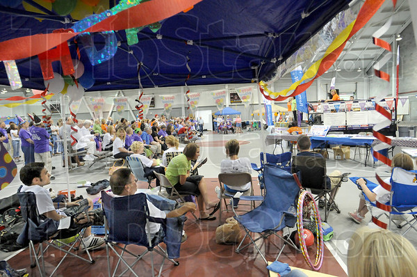 Festive Relay: A campsite for the Vigo County Relay For Life was full of people watching the opening ceremonies Friday afternoon in the Rose-Hulman facility.