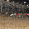 Tribute: Emergency workers give thumbs up to the drivers making a four-wide lap iprior to Thursday nights' Tony Hulman Classic at the Terre Haute Action Track.