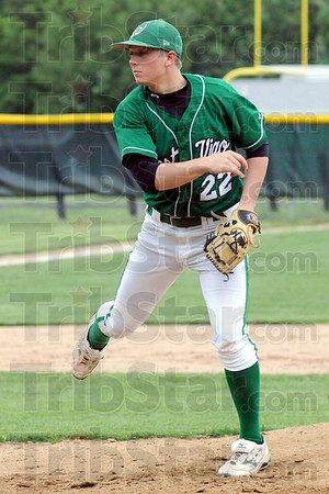 Can't touch this: West Vigo's #22, Scott West watches the flight of his pitch to a Georgetown batter during Saturday's game.