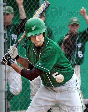 Not yours: West Vigo first baseman #5, Ryan Crowther chooses not to swing at a ball down the middle during game action against Georgetown Saturday morning.