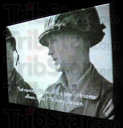 Projection: A video image of Ernie Pyle from the war is projected onto an interior wall of the Historic Site Thursday afternoon.