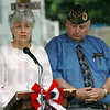 "Memory: Dona Griffin talks about her son's desire to ""make a difference"" during Saturday's AMVETS dedication ceremony. At right is Clifford Stephens of AMVETS."