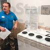 Tribune-Star/Joseph C. Garza<br /> Recycle it here: Best Buy General Manager Mike Piotrowski talks about the new store's recycling center Thursday at Towne South Plaza.