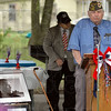 AMVETS: AMVETS representative Clifford Stephens opens the Dale Griffin shelter dedication ceremony Saturday afternoon.