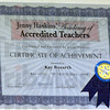 Accredited: Kay Bozart certificate from Jenny Haskins' Academy of Accredited Teachers.