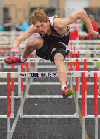 First: Knight Joel Whittington won the boy's high hurdles.