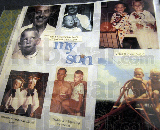 Childhood: Mike Decker brought his biological mother Sharon Keegan a scrap book to show her his early childhood photos.