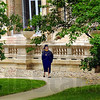 Last walk: Saint Mary-of-the-Woods graduating Senior Gina Jennings walks across campus one last time on her way to ceremonies Saturday afternoon.