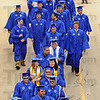 Finally: Indiana State University graduates file into Hulman Center for their ceremonies Saturday afternoon.
