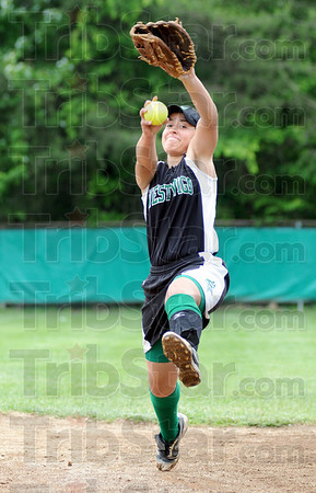 Here it comes: West Vigo pitcher Gina Furrey throws some pitches prior to Wednesday's game against Turkey Run.