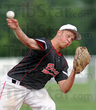 Pitch: South's #17, Travis Clements fires a pitch to the plate during game action against Rockville Wednesday evening.