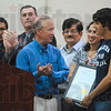 Tribune-Star/Joseph C. Garza<br /> Another visit from the governor: Terre Haute South senior Sachin Shinde is congratulated by Governor Mitch Daniels after Daniels presented him with the Mr. Math award for a second year in a row  Wednesday at South.