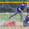 Nice throw: Patriot shortstop Danielle Ketner looks to catcher Kelsey Coffey after tagging out Brave baserunner Ciara Hall on an attempted steal. Umpire Scott Aul makes the call.