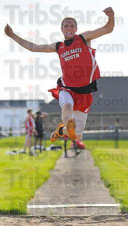 High and long: Terre Haute South long jumper Travis Rubey competes against Arlington Wednesday evening.