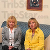 Tribune-Star/Joseph C. Garza<br /> Continuing the strong momentum: Kathy Lubeznik, right, chair of the Board of Trustees of St. Mary-of-the-Woods College, discusses the appointment of Dottie King, left, to interim president of the college during a press conference Monday on the college campus.