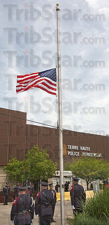 Half staff: The flag was lowered to half staff at the end of the police memorial ceremonies Monday afternoon.