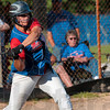 Tribune-Star/Joseph C. Garza<br /> Hit one you like: Linton senior Stephanie Fougerousse swings on a pitch to her liking during the Miners' game against West Vigo Friday in Linton.