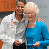 Tribune-Star/Joseph C. Garza<br /> Her doctor, her guardian angel: Former Union Hospital patient, Barbara Thomas, right, receives a hug from her physician, Dr. Debra Thomas, after Barbara presented her with a Guardian Angel pin Monday at the hospital.