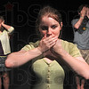 Tribune-Star/Joseph C. Garza<br /> Don't hear it, speak it or see it: Terre Haute North students Monica Schuler, Patricia Beddow and Elliot Menge assume the hear no evil, speak no evil and see no evil poses during practice for the play, No Evil, Monday at the school.