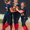 Pitcher battle winner: Terre Haute North pitcher Bethany Sullivan, center, is congratulated by teammates Hillary Rittenberg and Amber Maffioli after the Patriots defeated Mooresville Monday at the Plainfield softball sectional.