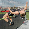 "Up and over: South's Jessica Meyers clears 4'10"" in the high jump to place in a tie for second with North's Rachel Welker."