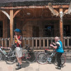 Tribune-Star/Joseph C. Garza<br /> Saddle up: Mark Yoder of Brazil and Atlee Miller of South Bend prepare to hit the road on their bicycles after eating lunch at the 36 Saloon Tuesday in Rockville. The two were participating in the Habitat for Humanity Cover Indiana Bicycle Tour.