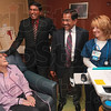 Tribune-Star/Joseph C. Garza<br /> A new patient in the Garden of Hope: Dr. Chandra Reddy and Dr. Ashis Chakrabarti along with RN Dana Garcia share a laugh with cancer patient, Tracy Ledermann of Marshall, Ill., during her visit to the Paul Siebenmorgen Cancer Center at Terre Haute Regional Hospital Tuesday.