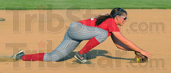 Good glove: Terre Haute South shortstop Macy Toon snares a linedrive for an out against Northview early in their sectional matchup Tuesday evening at Plainfield.