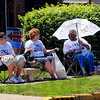 Vote for Kal: Elias Shahadey, Dawn Shahadey and Barbara Taylor sit in front of the Terre Haute city firehouse at 9th and College street encouraging voters to vote for Kal Ellis.