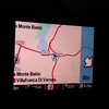 The tv monitors on the tour bus told us where we were (the driver could allow us to see his gps)