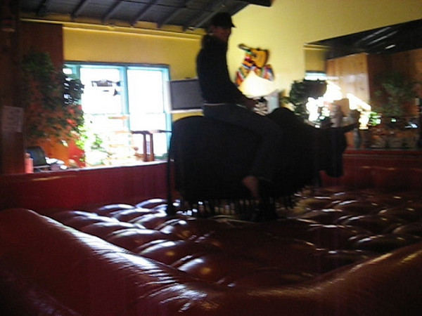 Lillian's first attempt at riding a mechanical bull