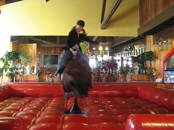 Lillian's first attempts at riding a mechanical bull