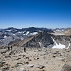 Crossing the Thompson summit plateau, looking west at Mt. Powell