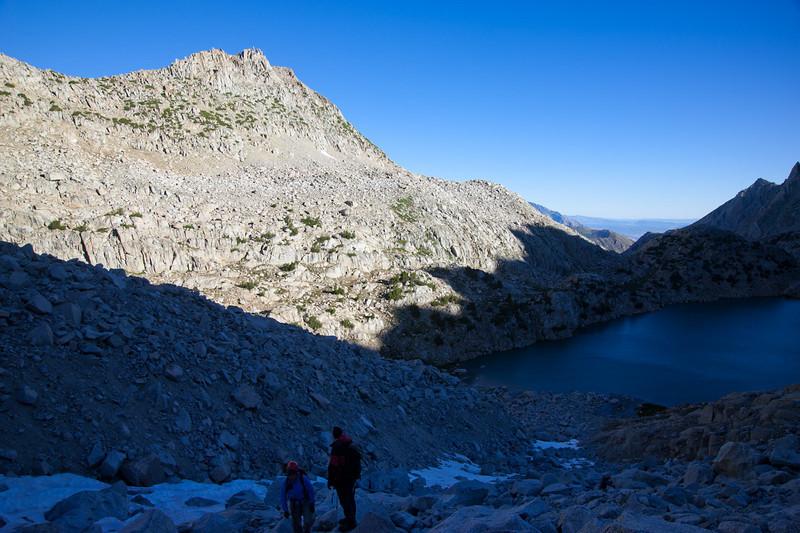 Climbing the talus, above Sunset Lake
