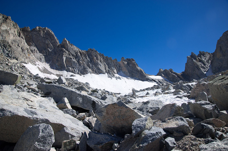 Snow-filled bowl below Mt. Thompson