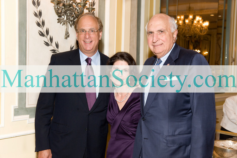 NEW YORK-OCTOBER 5:  Larry Fink, Lori Fink, Kenneth Langone attend NYU Cancer Institute Gala Honoring Silvia Formenti, MD, the Sandra and Edward H. Meyer Professor of Radiation Oncology and Chair of Radiation Oncology at NYU Langone Medical Center on Tuesday, October 5, 2010 at The Pierre Hotel, 2 East 61st Street, Manhattan (PHOTO CREDIT: ©Manhattan Society.com 2010 by Gregory Partanio)