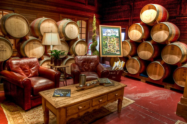 This is the side of tasting room at Trefethen; they have a bunch of their wine bottles lying around with some comfy chairs to relax in while tasting!