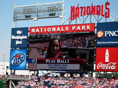 """Caressa Cameron (Miss America 2010, Miss Virginia 2009, and 2009 Nat Pack member) makes the honorary """"Play Ball"""" call"""