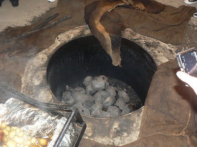 The heated rocks that where used to cook our food.