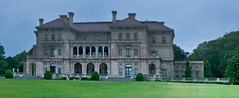 The Breakers, backyard shot, panorama made from standing on a post along Cliff Walk so I could get above the hedges.