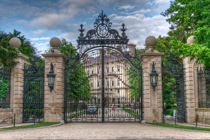 The gates to The Breakers, one of the mansions built by the Vanderbilt's that is now a museum.