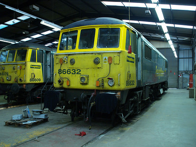86632 and 86609 inside LNWR Crewe.