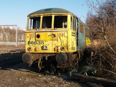 Withdrawn 86635 out the back of LNWR Crewe.