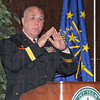 "War stories: As part of his keynote address to a crowd gathered in the Ivy Tech State College auditorium, retired Army Brigadier Ganeral James Bauerle encoureged veterans to tell their stories of their time in service to their country. Here he ralates his efforts in obtaining markers to reduce the possibility of ""friendly fire"" incidents. He was in Terre Haute as part of the schools' Veterans' Day program."