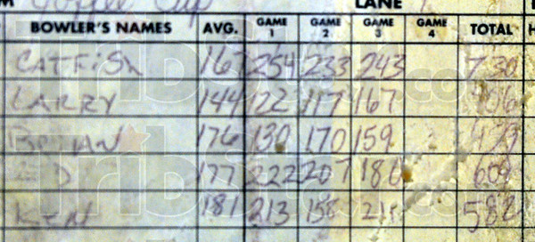 730: Enshrined in a picture frame is the scoresheet from Catfish Edrington's 730 game, bowled with the Coffee Cup team.
