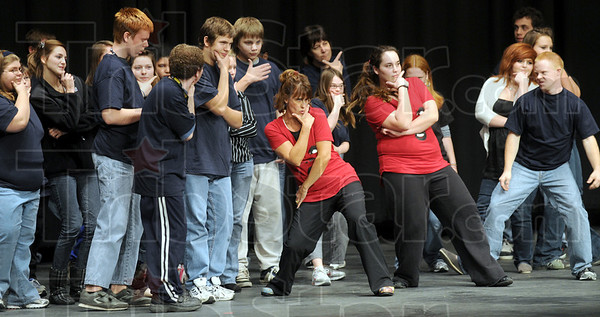 Yo: Teresa McCullough works with her dancers Thursday afternoon at North High School.