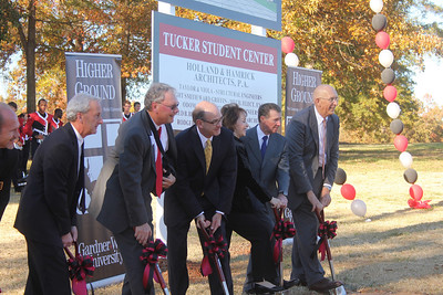 The groundbreaking ceremony for the new Tucker Student Center took place November 11th, 2010 on the edge of Lake Hollifield. The new Student Center is one of the first portions of the Higher Ground Capital Campaign for Gardner-Webb University.