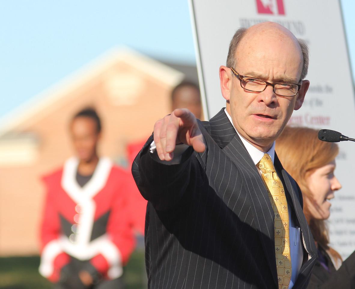 Gardner-Webb University president Frank Bonner points to the future site of the Tucker Student Center during the groundbreaking ceremony on November 11th, 2010.